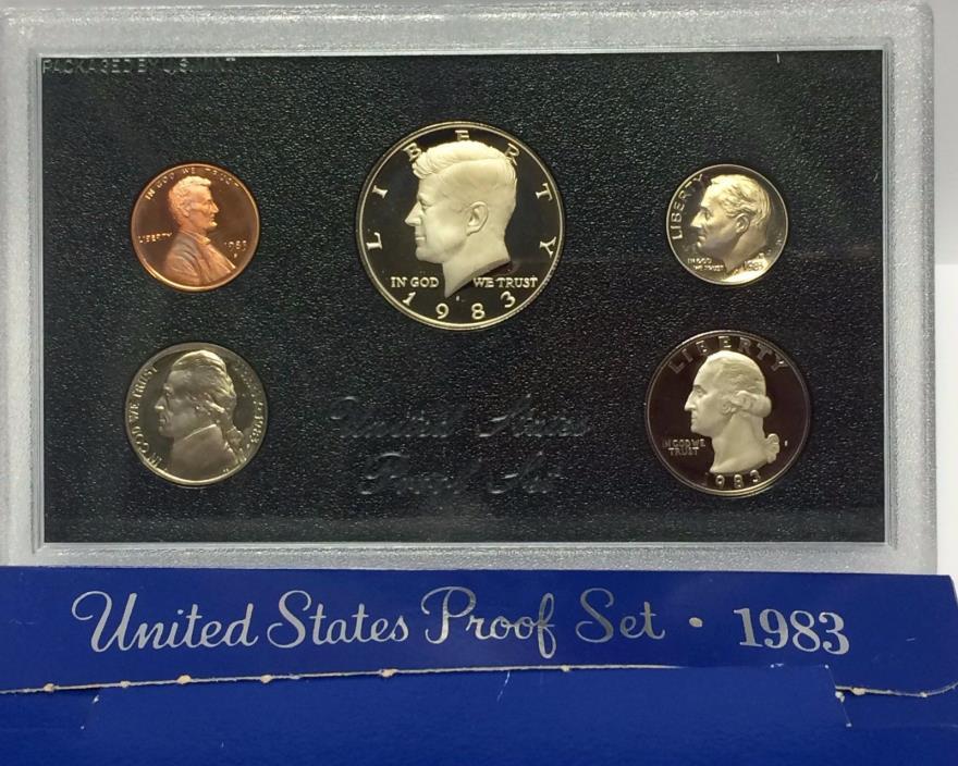 1983 S U.S. MINT 5 COIN CLAD PROOF SET BLUE BOX KENNEDY HALF