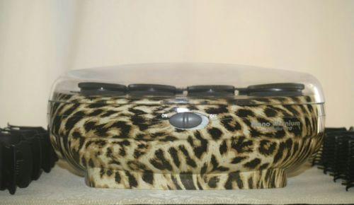 BABYLISS PRO Hairsetter Nano Titanium,Ceramic 8 Roller Set Leopard Print