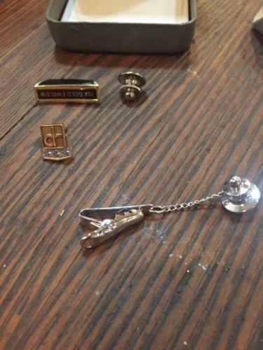 O.C.TANNER  Pin/Tack~10K Gold Emblem & Sapphires- Sterling Pin/clip - clr Award