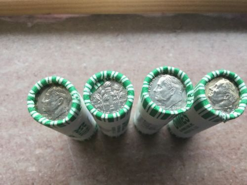 2010- P & D Uncirculated ROOSEVELT DIME ROLLS - Not Satin Finish In Bank Wrapper