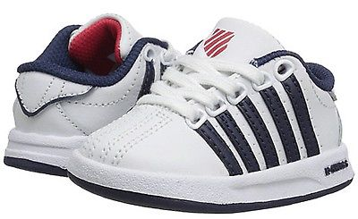 K-SWISS 23270-163 COURT PRO Inf's (M) White/Navy Leather Synthetic Casual Shoes