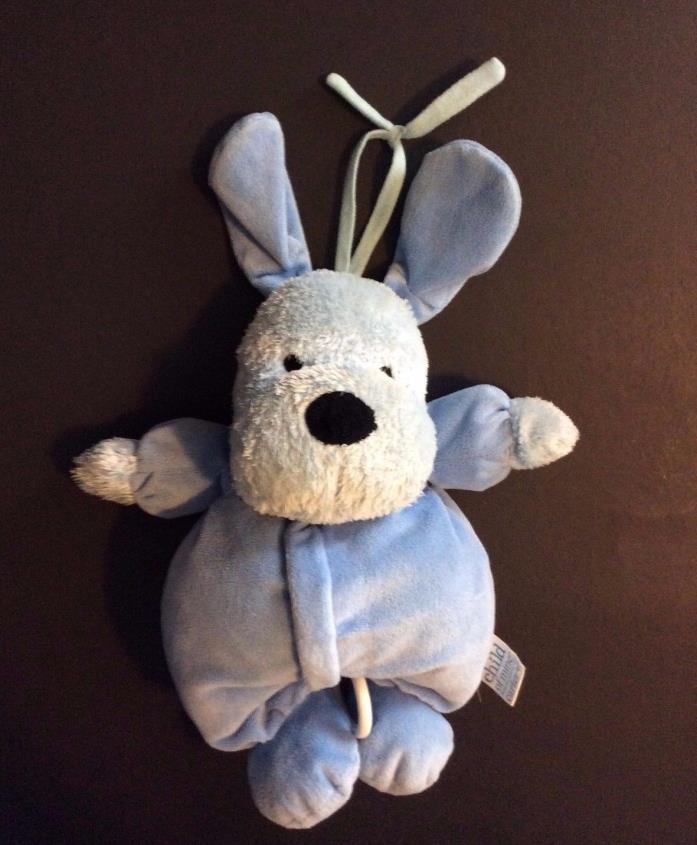 Carter's Child of Mine Blue Plush Puppy Dog Crib Hanging Pull Handle Music 11