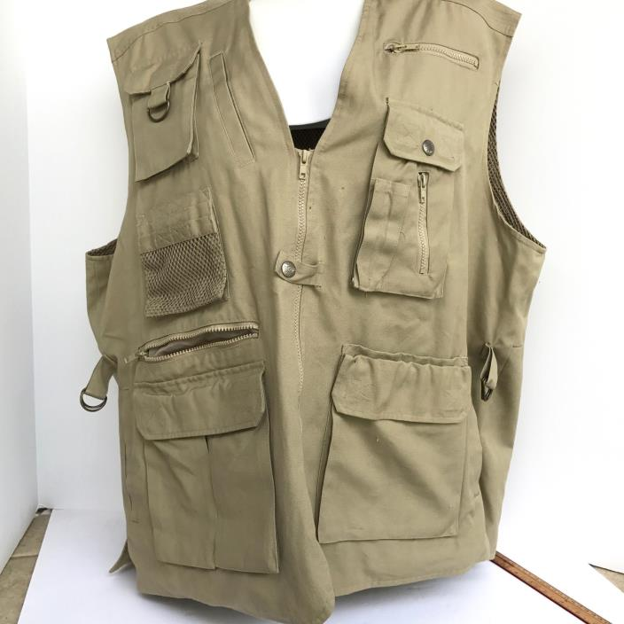 Field and Stream Outfitters Fishing Hunting Outdoors Mesh Lining Mens Khaki Vest