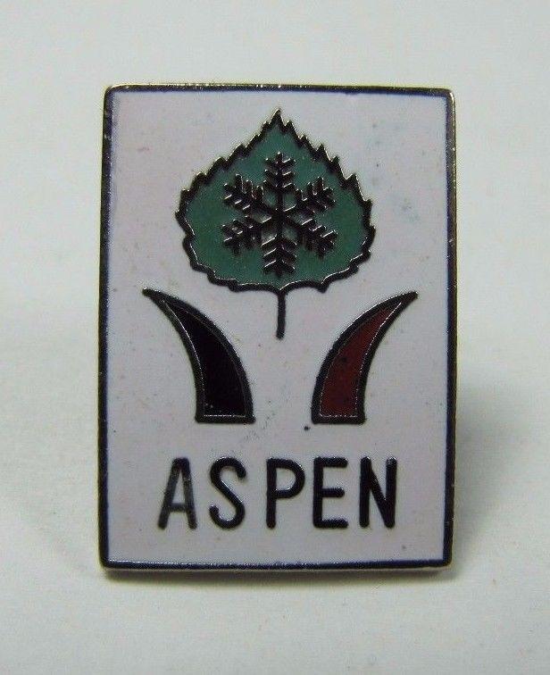Vintage ASPEN Skiing Pin Pinback Jacket Hat Lapel Scarf NOAG