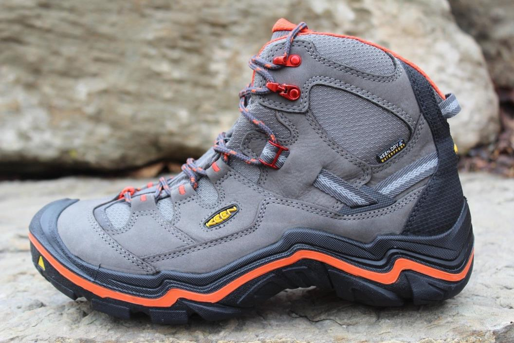14 New Keen Durand Mid Keen Dry Men's Hiking Boots Grey/Orange Men's Size 10