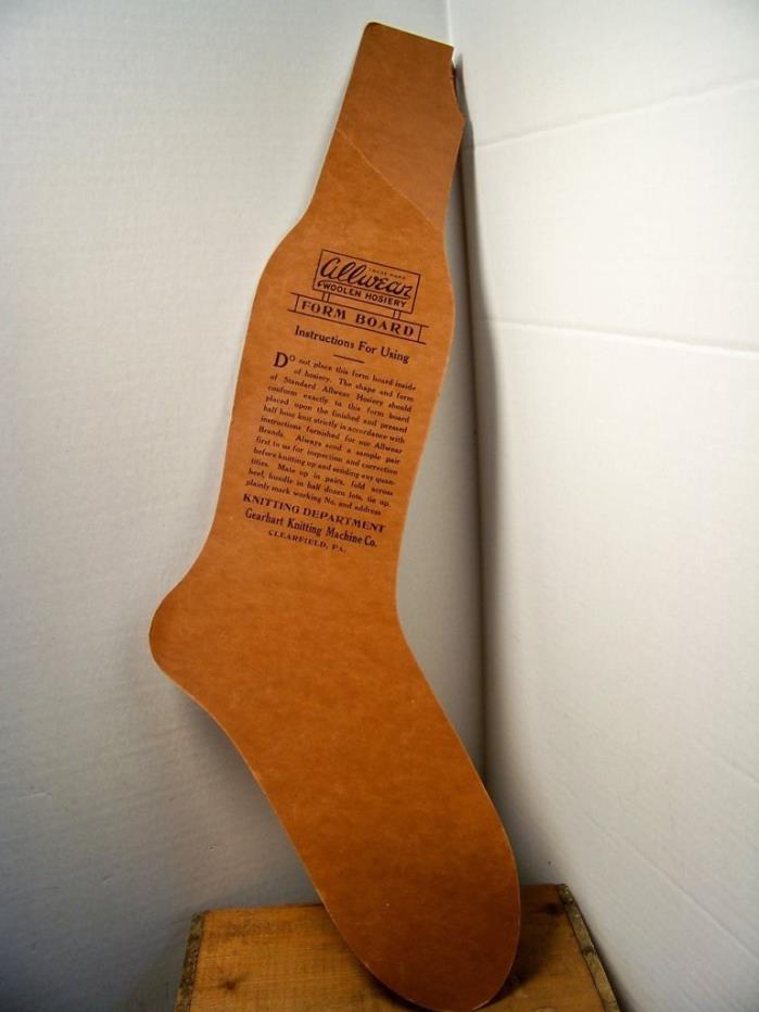 Hosiery Form Board for Allwear Woolen by Gearhart Knitting Machine Co. Vintage 1