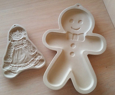 Brown Bag Stoneware Raggedy Ann Cookie Mold 1985 & Superstone Gingerbread