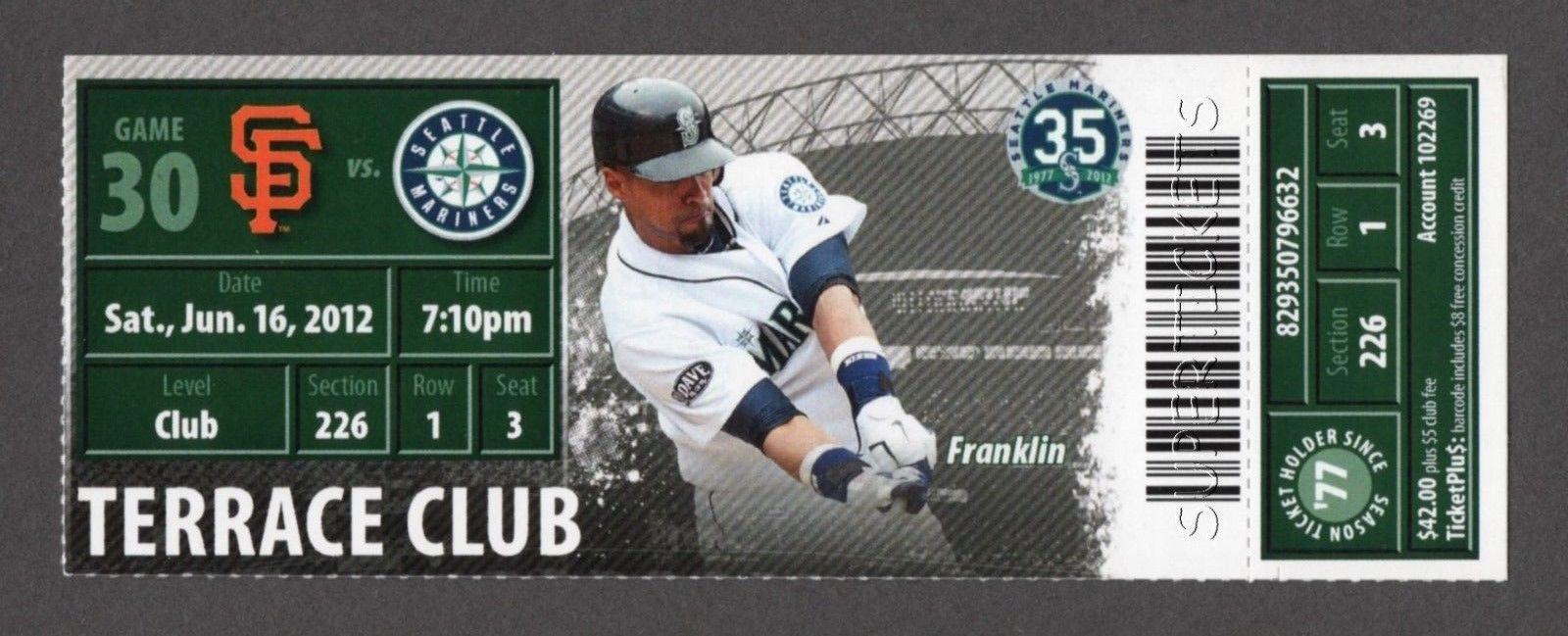 HISASHI IWAKUMA 1st MLB WIN - 2012 SF GIANTS @ MARINERS 6/16 TERRACE CLUB TICKET