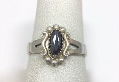 Vintage Wheeler Manufacturer Hematite Marcasite Sterling Silver Ring 7 3/4 FMGE