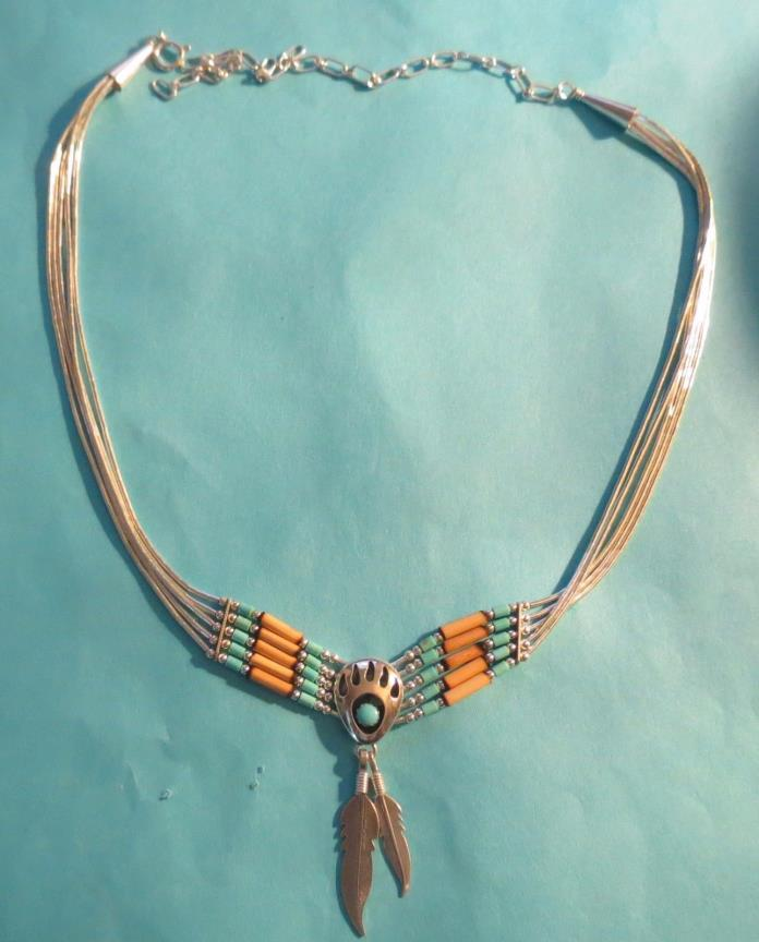 STERLING Turquoise/wooden Bead Necklace w/bear paw & feathers - signed