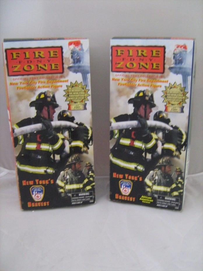 Lot of 2 Fire Zone FDNY Firefighter Action Figures Caucasin & African Amer NYC