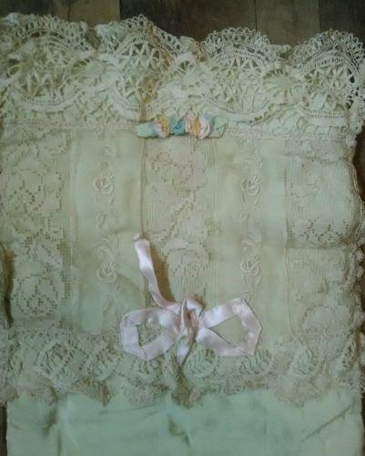 Vintage Doll Bed Mattress Pad Lace Satin Ribbon Roses