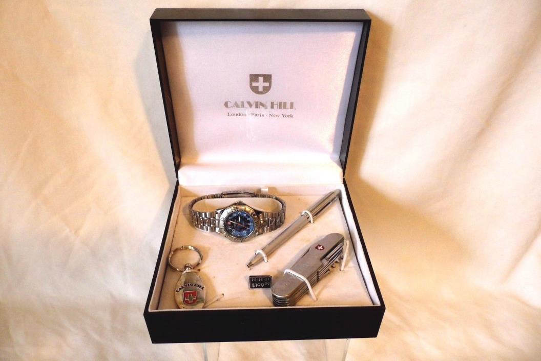 CALVIN HILL 4 PC GIFT SET SWISS ARMY KNIFE WATCH PEN & KEY CHAIN BOXED