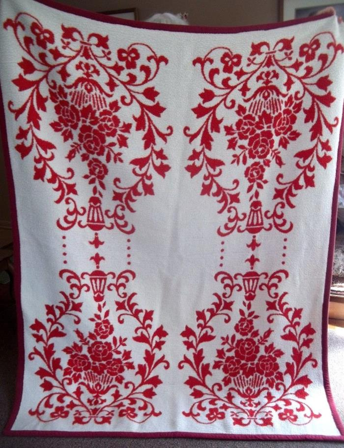 VTG RED white DAMASK  BLANKET acrylic THROW afghan Millefleur FLORAL christmas