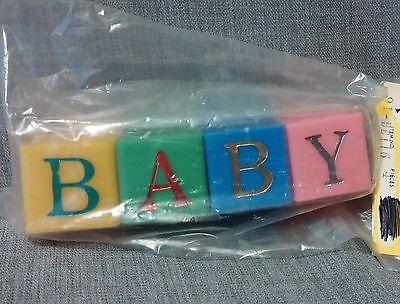 ~Vintage Plastic Baby Blocks~Shower Decoration~Cake Topper~Favors~Nursery Decor~