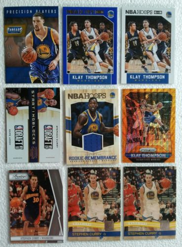 Golden State Warriors LOT (9) Stephen Curry + Klay Thompson + Harrison Barnes RC