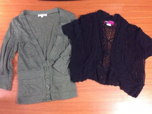 ~Body Central/Say What~ Lot Of 2 Green &Black Sweater Over Shirts Size Small