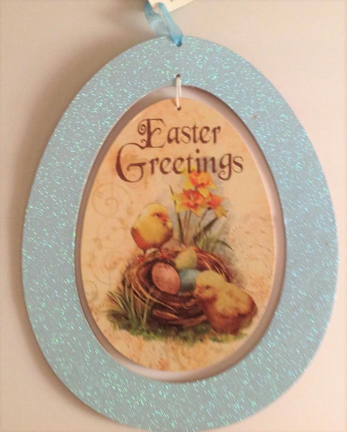 HAPPY EASTER WALL DOOR HANGING DECOR EASTER GREETING EASTER EGG 10 x 12