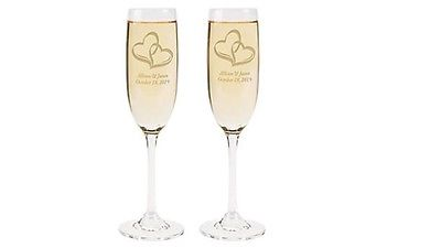 Personalized Engraved Wedding Two Hearts Champagne Flute Set of 2