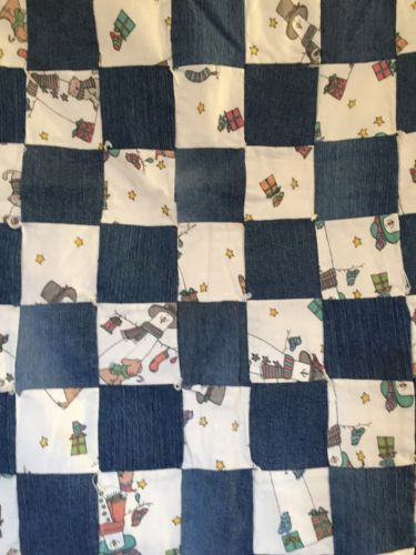 Vintage BABY CRIB Quilt Denim Christmas Fabric Snowman Dog Etc