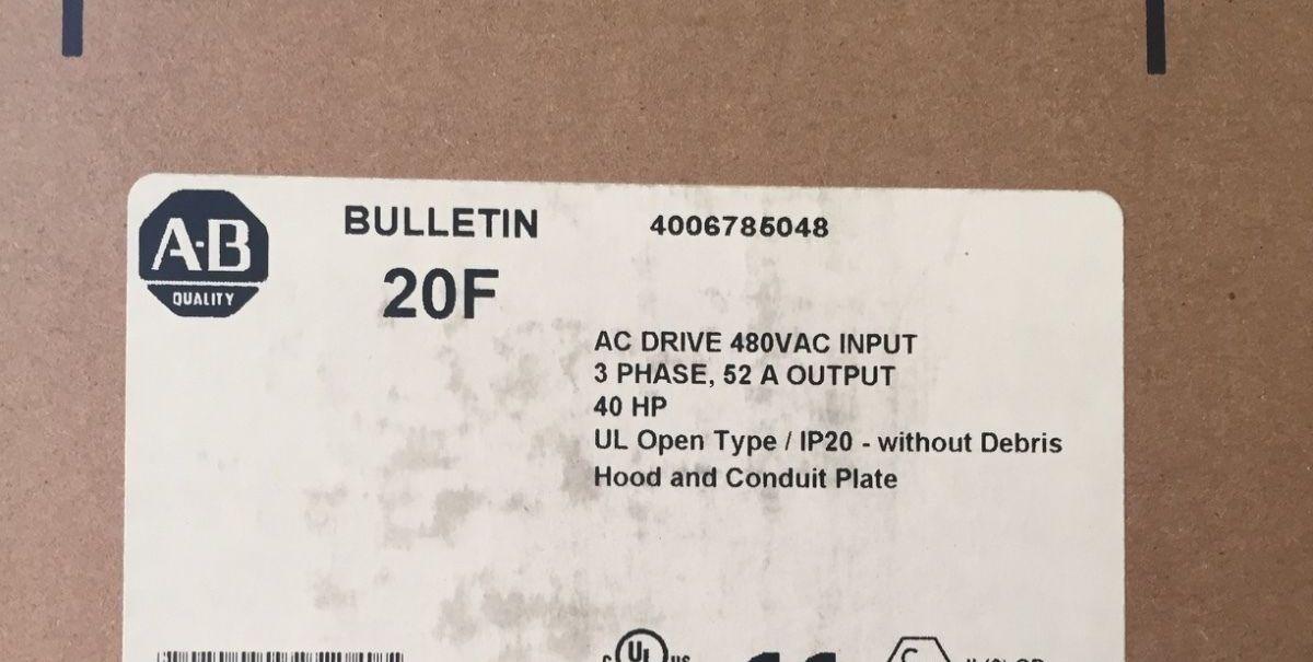 **NEW** Allen Bradley PowerFlex 753, 20F11ND052AA0NNNNN, 52A/40HP/480VAC-YR 2016