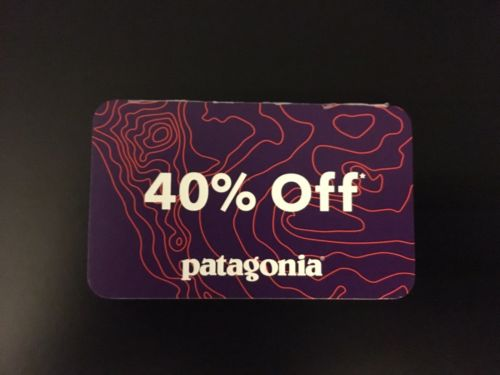 PATAGONIA 40% OFF COUPON - Good In Stores and Outlets - Exp. 4/30/17 Authentic!!