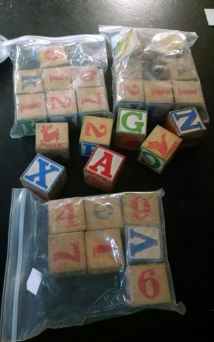 vintage lot of 28 childrens wooden building blocks letters & numbers