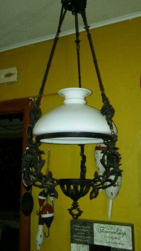 VTG/ANTIQUE ORNATE HANGING LAMP HOLDER -MILK GLASS SHADE