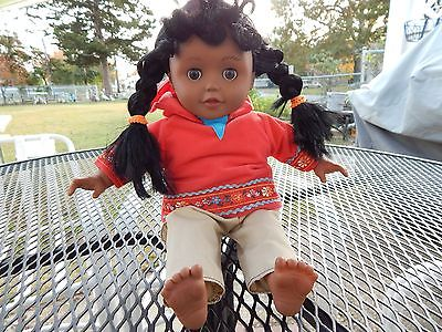 African American Indian Vinyl & Cloth Doll  Singing
