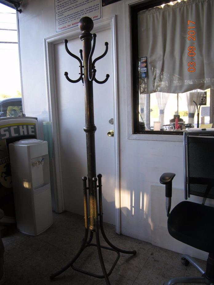 Vintage heavy BRASS HALL TREE Coat Stand / Hat Rack