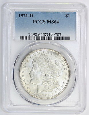 1921 D Morgan Silver Dollar MS 64 PCGS (#9703)