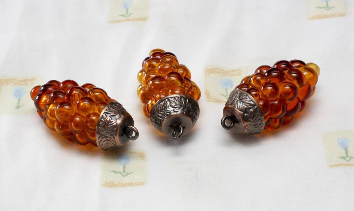 Amber Brown Vintage glass grape cluster ornaments set of 3 Kugel ?