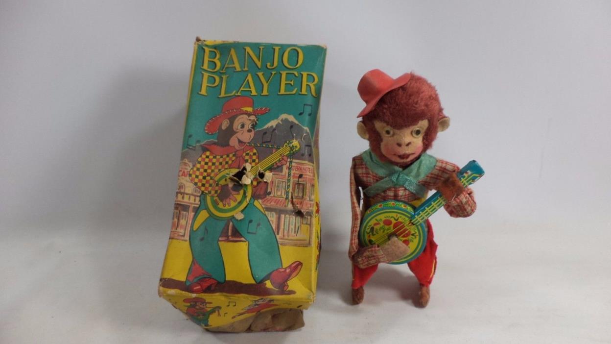 Vintage SK Super Toy Banjo Player Monkey 6 1/8