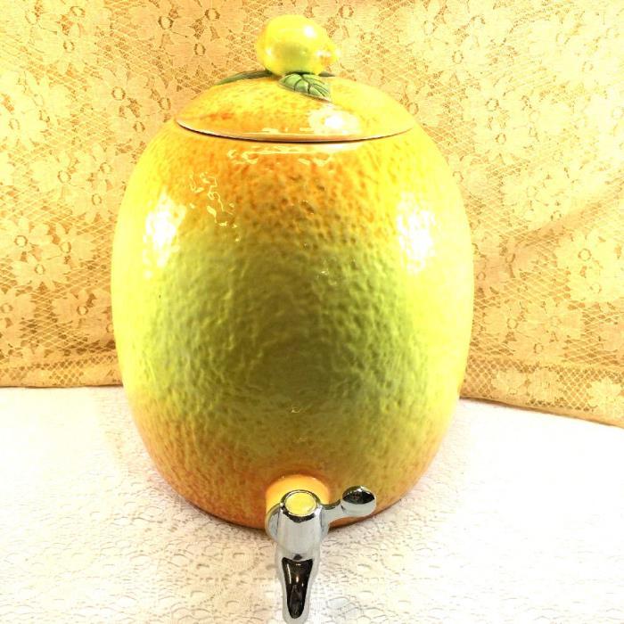 Pier 1 Imports XL Porcelain Lemonade Beverage Dispenser W/Lid Yellow Lemon Spout