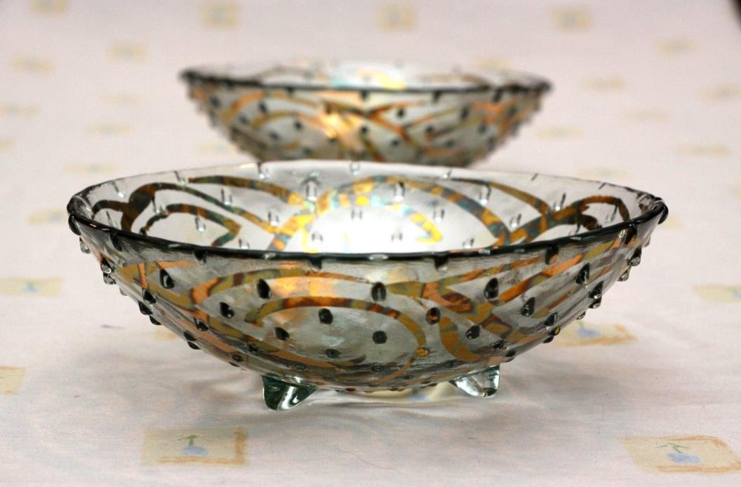 Tamara Childs bowls hobnail ftd gilded metal hand made glass art deco