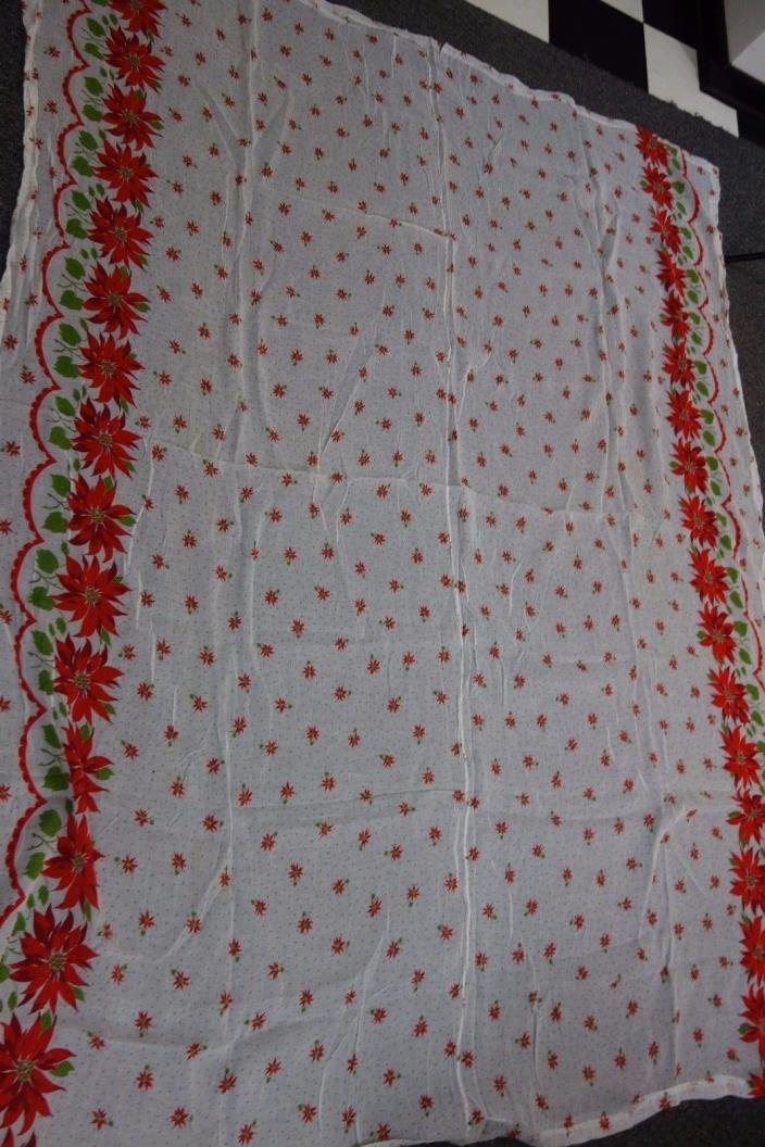 Vintage Christmas Tablecloth-White w/ Red Poinsettias- 62x82-VG- BRIGHT - SALE