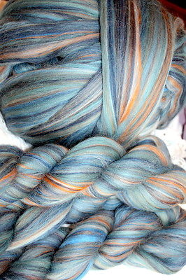 Merino Wool Top Roving Denim Multi Color 1 Pound
