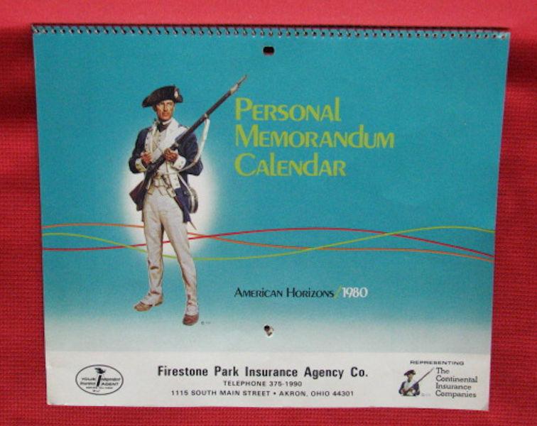 UNUSED calendar - 1980 - Firestone Park Insurance Agency Co. - Akron, Ohio