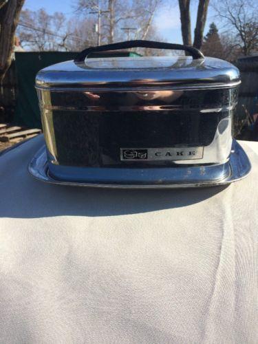 Vintage Square Cake Carrier Saver Chrome Black Handle