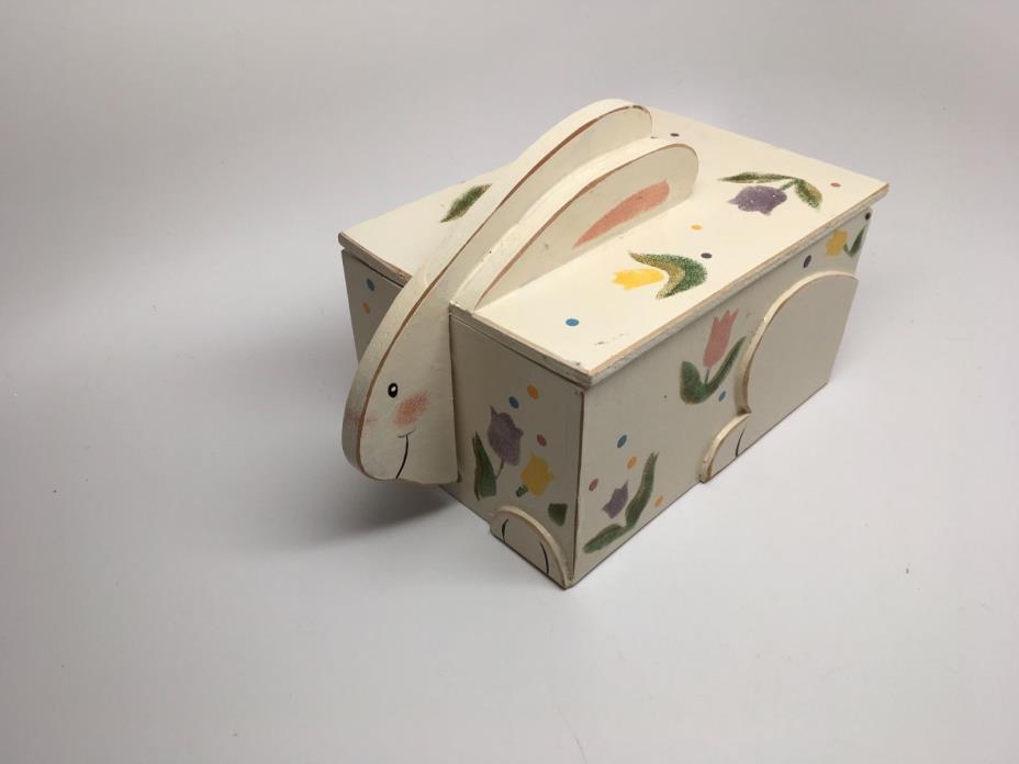 Vintage Hand Made & Painted Wood Rabbit Shape Lidded Box