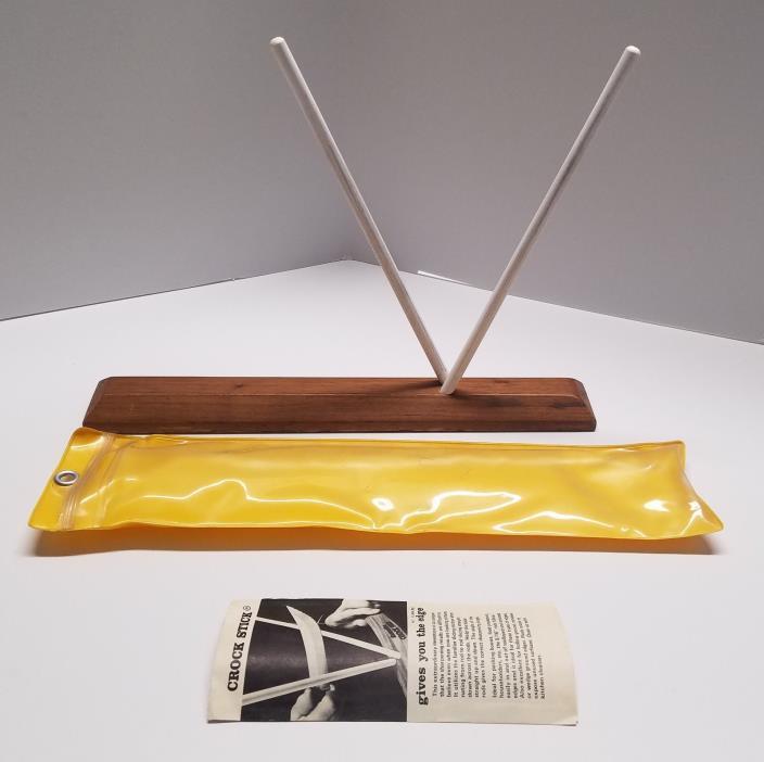 Crock Stick Ceramic Rod Knife Sharpener Wood Base Case Instruction Leaflet