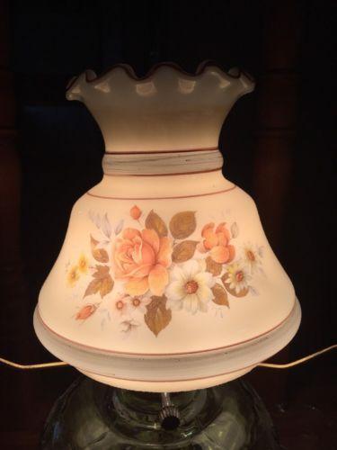 Beautiful Vintage Hurricane  Glass Lamp Shade Ruffles  Flowers 5 1/2