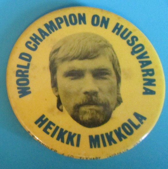 Rare Heikki Mikkola Motorcross World Champion On Husqvarna Pinback button