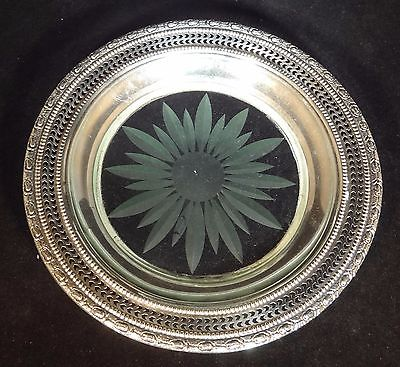 Small Plate American Sterling Silver and Glass