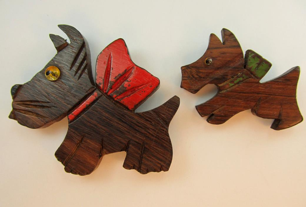vtg antique BIG Scottie Dog Brooches ART Deco Wood Red & Green Bow Carved