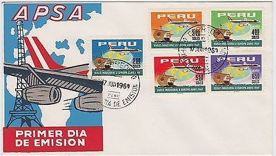 Peru FDC 1969 APSA's first flight to Europe SC#517, SC#238 to SC#241 set of 5