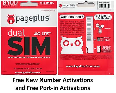 PAGE PLUS 4G LTE DUAL SIM CARD GET UNLIMITED VERIZON WIRELESS BY PAGE PLUS