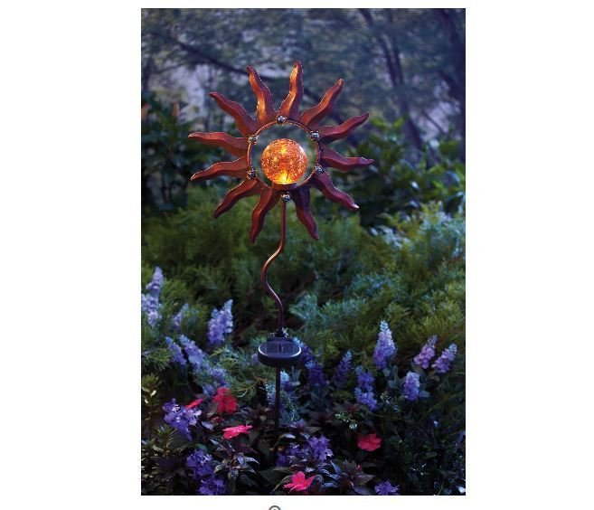 NEW Burnished Sun Solar Garden Stake LED Battery 8 hours Yard Pathway Patio