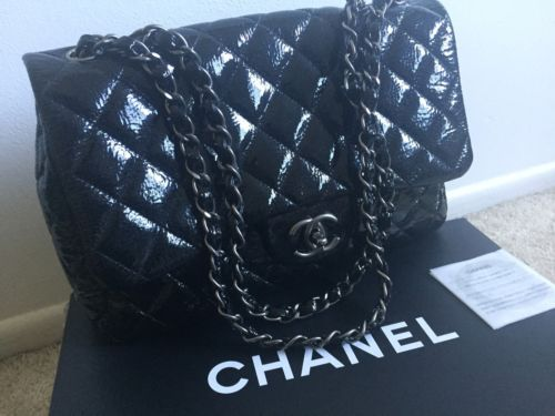 Authentic Chanel A28600 Jumbo Patent Flap Bag~Gunmetal Hardware, Limited Edition