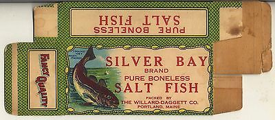 Silver Bay Salt Fish cardboard box Willard Daggett PORTLAND MAINE